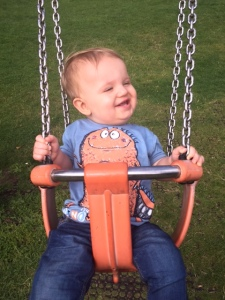 All smiles on the swing