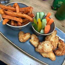 Chicken Bites, Sweet Potato and Veggie Sticks (Mine)